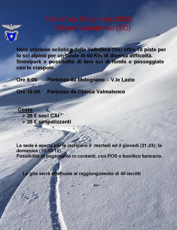 Gita sciistica a Chiesa in Valmalenco – 26 gennaio 2020