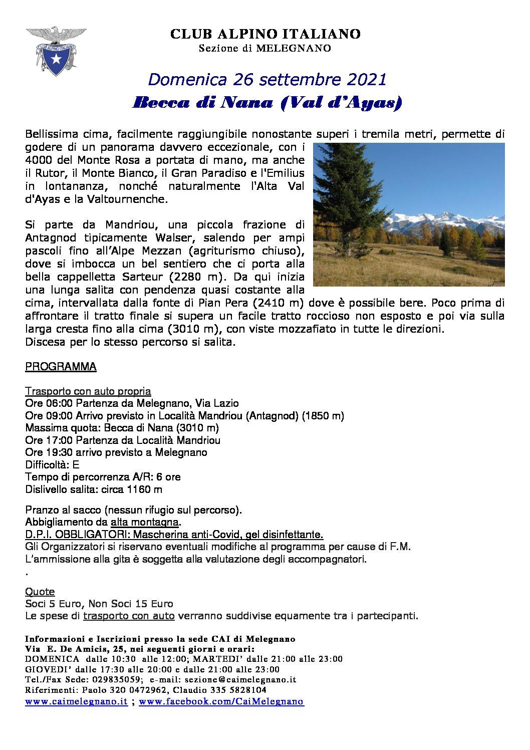 Escursione alla Becca di Nana – mt 3010 – 26 settembre 2021