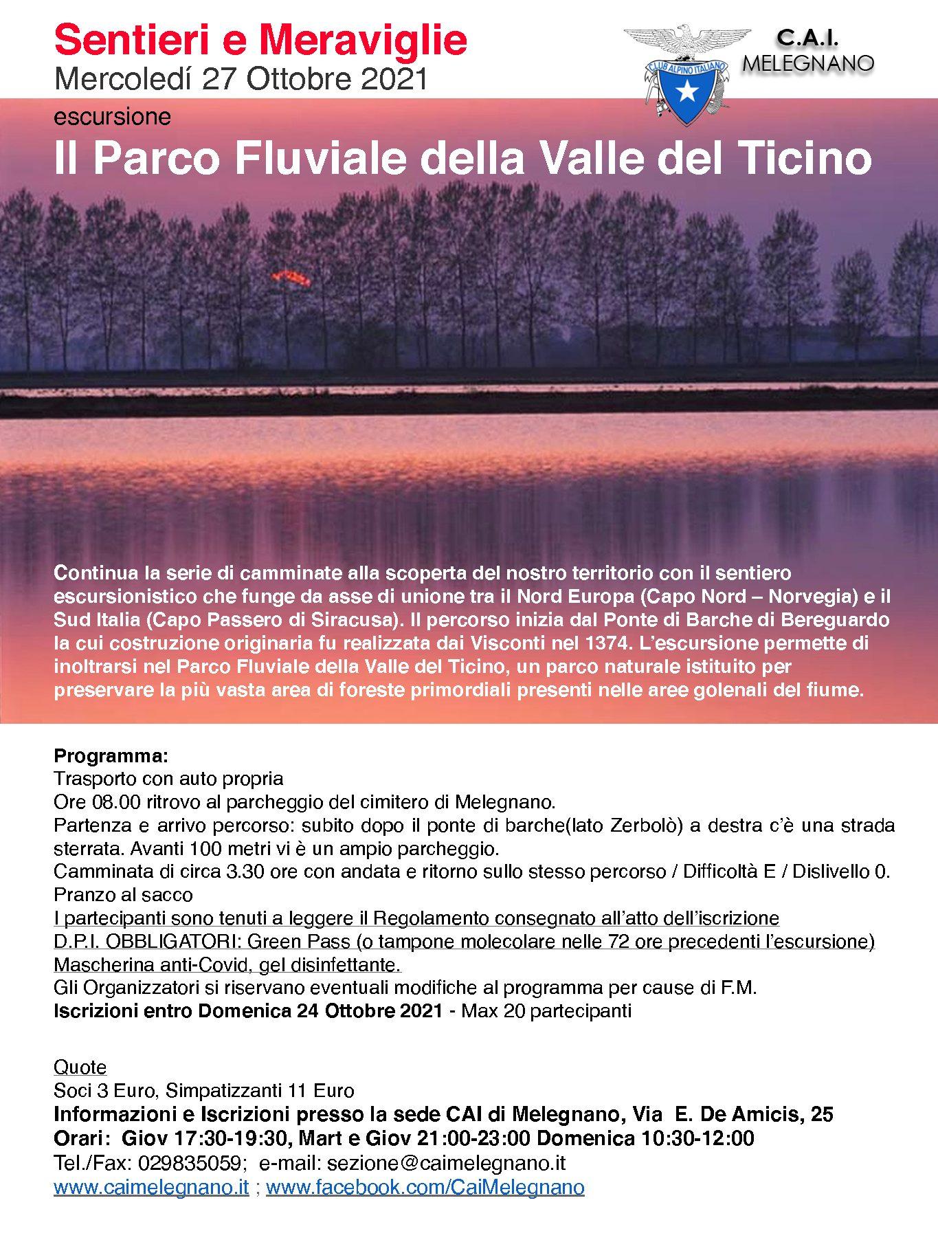 Escursione al parco fluviale del Ticino – 27 ottobre 2021