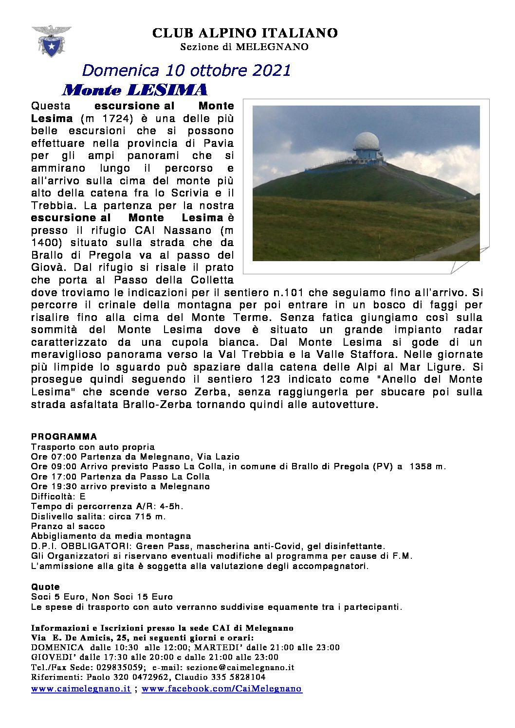 Escursione al monte Lesima – 10 ottobre 2021